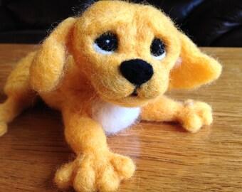 Needle felted dog, lab, wool needle felting, yellow lab, needle felting, puppy, dog, Puppy dog eyes