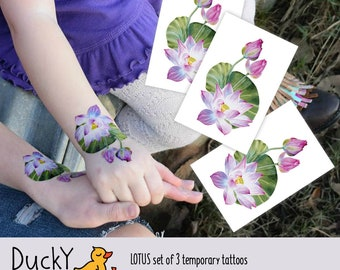 Set of 3 temporary tattoos Lotus. Femine watercolor water lily leaf and flowers. Floral lotus tattoo, wedding favors, romantic gift.