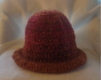 half price rolled brim hat in shades of orange and pink