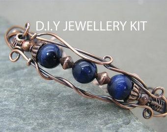Wire wrapped jewelry kit ~ Do it yourself jewellery kit ~ Wire wrapping tutorial ~ Bracelet tutorial ~ Handmade Jewellery instructions ~