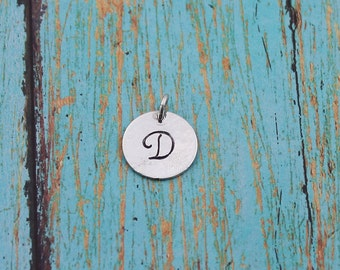 Hammered, Sterling Silver, Personalized, Script Initial, Charm/Pendant