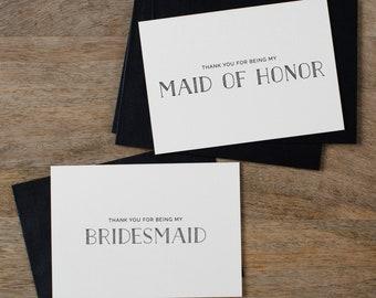 5 x Bridesmaid Thank You Card, Thank You For Being My Maid of Honor, Thank You Card Bridesmaid, Bridesmaid Gift, Thank You Wedding Cards, K5