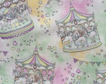 Fairy Tales fantasy merry-go-round printed Japanese green based colour