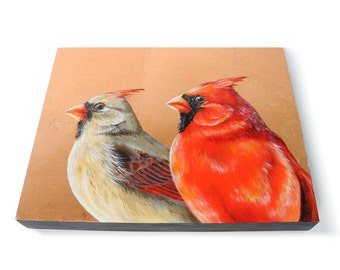 Copper Cardinals painting - realistic red bird art - metallic copper leaf - birdwatching art - birdwatcher gift - cardinal pair male female