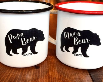 Personalized Mama and Papa Bear Enamel Mugs - Christmas Gift for Campers - Vintage Style Enamel Mugs - Mother's Day Gift - Camping Mugs