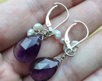Amethyst and Pearl Earrings -- 336
