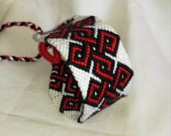 Red and white tribal knotted bracelet Handwoven wrist cuff Black and red string bracelet Braided wrist band friendship bracelet unique gift