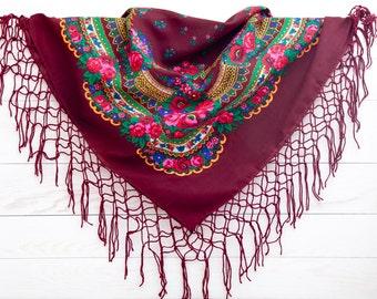 Summer Party, Floral scarf, Bohemian Scarf, Burgundy Ukrainian shawl, Retro Russian shawl, Bridal Accessories, Summer Outdoors (061)