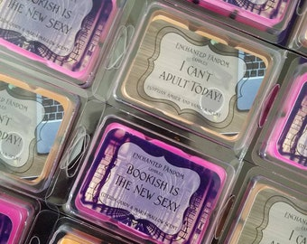 Enchanted Fandom wax melts, bookish is the new sexy, I can't adult today, scented wax melt, soy wax, tarts, bookstagram, Bookish, clamshell