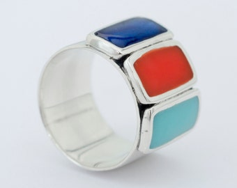 Multicolour Silver Ring - Colourfull Silver Ring - Statement Ring - Chunky Silver Ring - Different Ring - Free Shipping - Geometrical Ring