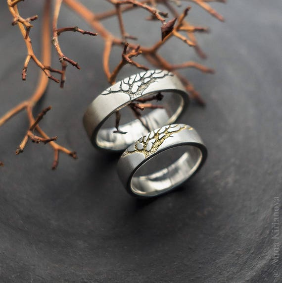 Tree Wedding Band, Ring Set, Men And Women Wedding Ring, Nature Inspired  Jewelry, Handmade His And Hers Ring