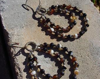 Black Agate and Glass Seed Bead Earrings on Sterling Silver Ear Wires, One of a Kind Earrings, Boho Earrings