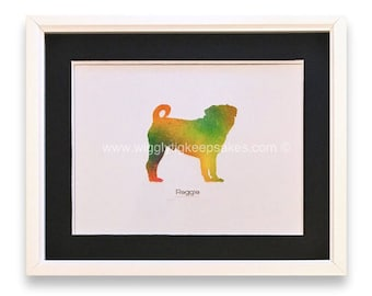 Gorgeous Pug Silhouette  in Yellows | Oranges | Greens (Can Be Personalised)