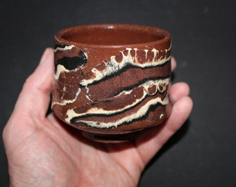 Ceramic tea cup Mokume gane 54