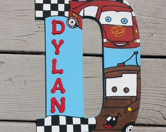 "Cars Letters - Wood Letters - Painted Letters - Name Letters - 13"" Letters - Hand Painted Letters - Custom Letters - Boys Name Letters"