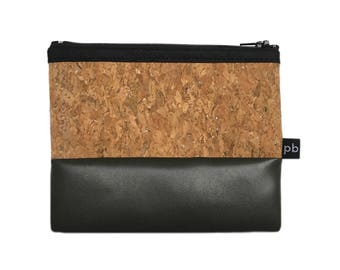 Pb_pochette Small, imitation leather clutches in cement and cork, handmade, purses, object holder, door tricks