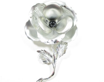 Vintage Silver Tone Flower Brooch Celebrity 60's 70's Statement Large Bold