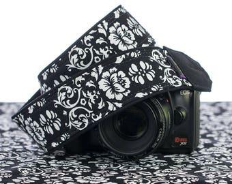 dSLR Camera Strap, Black & White Floral Damask,Camera Neck Strap, Pocket, Canon Strap, Nikon Strap, SLR, 021