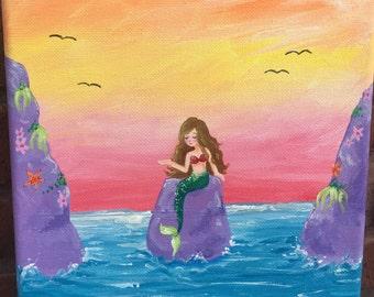 Mermaid / Sunset Painting (8x10) Original Acrylic Painting