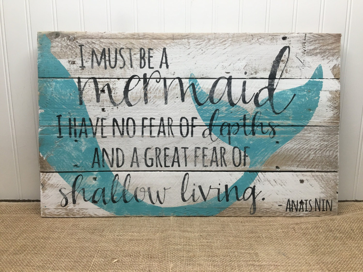 Rustic Pallet Wall Art Mermaid Sign Wood Sign Gift For