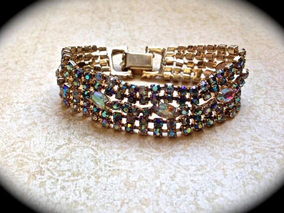 Rhinestone Bracelet-AB Rhinestone Wedding Bracelet Rhinestone Crystal Jewelry- Bride Wedding Statement Bracelet-AB Goldtone Bracelet