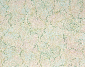 1930's Vintage Wallpaper - Pink Green and Blue Marble Paper