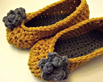 Crochet slippers in mustard yellow with gray rose choose your size comfy, soft, cottage style room shoes