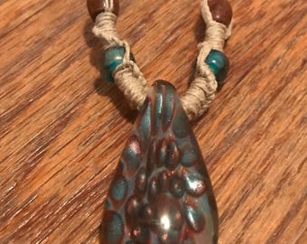 Handmade Hemp Necklace with Boro Glass Pendant