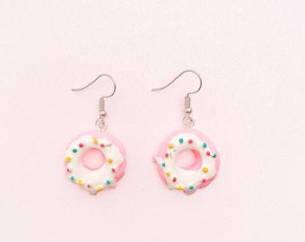 Pastel Pink Donut Earrings - Donut Earrings - Kawaii Earrings - Fairy Kei Earrings - Lolita Earrings - Candy Earrings - Food Earrings - Cute
