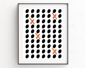 Poster Print, Minimalist Black and White Wall Print, Minimalist Geometric Wall Art, Wall Prints, Cross Wall Art Decor, Geometric Art