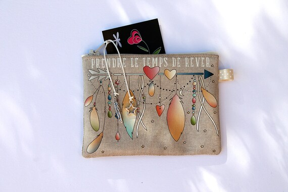 """Wallet in natural linen illustrated """"time to dream"""""""
