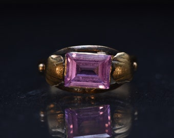 SALE - Romantic Antique Victorian (c. 1880s) Pink Sapphire and 18k Yellow Gold Ring - Sz 5.75
