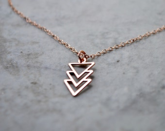 Rose Gold Arrow Necklace, Rose Gold Geometric Pendant, Arrow Jewelry, Minimalist Triangle Necklace, Simple Necklace, Wife or Girlfriend Gift