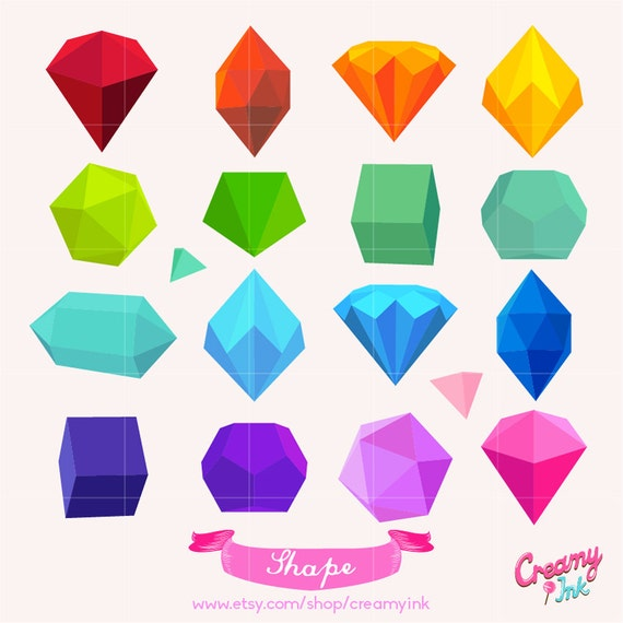 3D Shapes Clip Art Set | 3d shapes, Clip art and Shapes