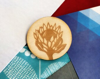 Protea Brooch / Wooden Brooch / South Africa / Laser Cut Brooch / Flower Brooch / Stocking Filler / Jewelry / Gift / Unique Gift