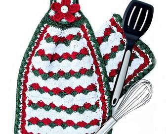 Crochet Pattern Potholder Dishtowel Oven Mitt PDF 12-112 INSTANT DOWNLOAD