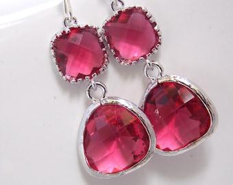 Glass Earrings, Fuschia Earrings, Fuchsia Earrings, Pink Earrings, Wedding, Bridesmaid Earrings, Bridal Earrings Jewelry, Bridesmaid Gifts