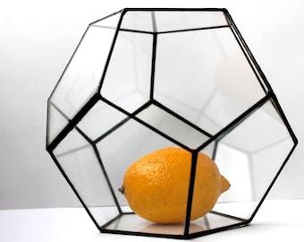 Dodecahedron Planter, Glass Geometric Terrarium Container, Handmade Glass Terrarium, Succulent Planter, Stained Glass Terrarium, Gifts
