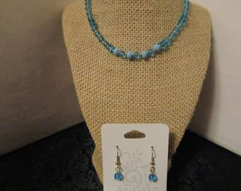 Turquoise Glass Beaded Necklace & Earrings set