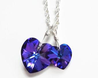 Dark purple crystal hearts necklace - Big Love Little Love - Swarovski crystal - heart neckalce - ultra purple