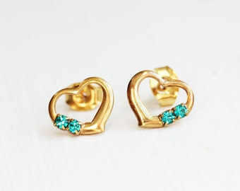 Gold Heart Studs, Stone Heart Studs, Crystal Heart Studs, Heart Studs, Crystal Studs, Blue, Purple, Green, Yellow, Red, Pink