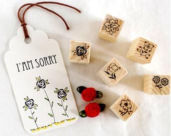 12 Pcs Flower Wooden Rubber Stamp Set Craft Supplies