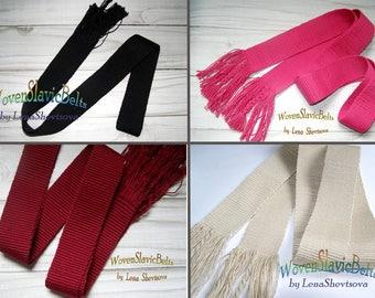 Hand Woven Belt, Webbing belt, Cotton Vegan belt, Sash, Black, white, pink ladies belt, 1 color belt, no buckle belt for girls and women