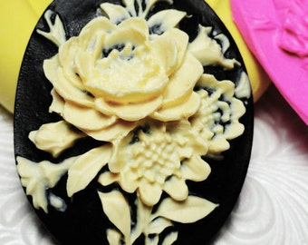 ROSE FLOWER CAMEO Mold Flexible Silicone Push Mold for Resin Wax Fondant Clay Fimo Ice 5235
