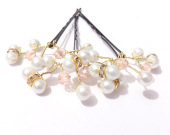Bridal hair pin, pearl hair pin, hair pin, hair jewelry, branch hair pin, hair accessories, crystal hair pins, bridesmaid hair pin