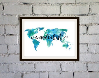 Adventure awaits quote poster travel poster teal wall decor wanderlust print teal wall art travel decor world map wall art travel quote print aqua gumiabroncs Images