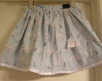 Reversible Winter theme with Polar Bears and Penguins skirt size US 4T