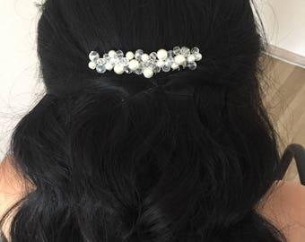 Bridal hair comb, Bridal headpiece, pearl beads headpiece, wedding hair piece, wedding hair comb, hair accessory, cream hair comb