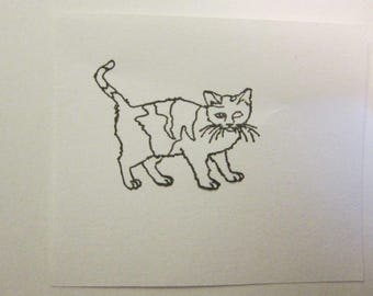 rubber stamp - CAT stamp - calico cat stamp - red rubber stamp - unmounted stamp