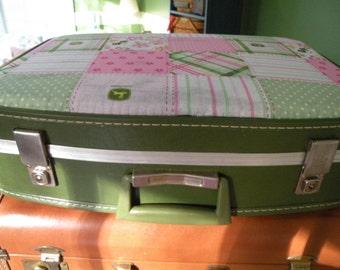 Vintage green suitcase, Stacking suitcase, John Deere Pink